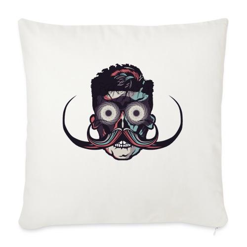 hipster tete de mort crane barbu skull moustache b - Coussin et housse de 45 x 45 cm