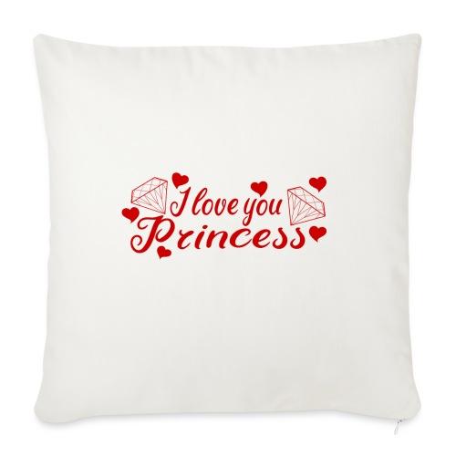I Love you Princess mit Diamanten und Herzchen - Sofakissen mit Füllung 44 x 44 cm