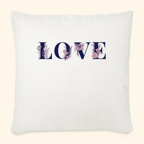 Typographie -LOVE - Fleurie - St Valentin - Coussin et housse de 45 x 45 cm