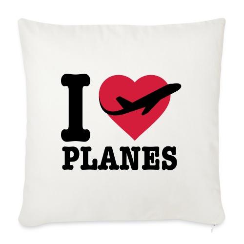 Uwielbiam samoloty - czarne - Poduszka na kanapę z wkładem 44 x 44 cm