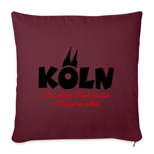 Köln zwischen Himmel un Ääd (Schwarz/Rot) - Sofakissen mit Füllung 44 x 44 cm