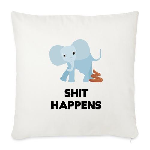 olifant met drol shit happens poep schaamte - Bankkussen met vulling 44 x 44 cm