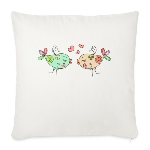 colourful birds in love - Sofa pillow with filling 45cm x 45cm