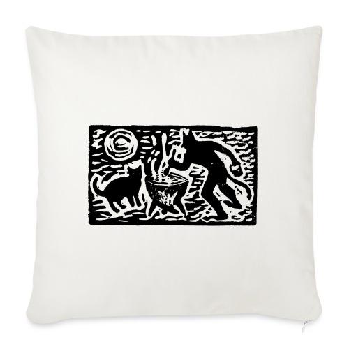 Teufel mit Katze - Sofakissen mit Füllung 44 x 44 cm