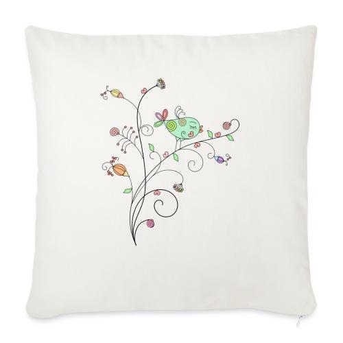 Bird Floral branch design - Sofa pillow with filling 45cm x 45cm
