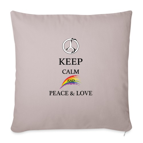 keep calm and Peace & Lov - Cuscino da divano 44 x 44 cm con riempimento