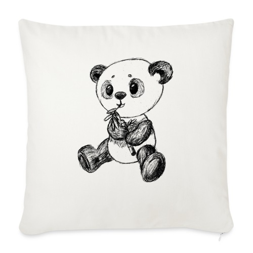 Panda bear black scribblesirii - Sofa pillow with filling 45cm x 45cm
