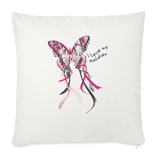 I love my soldier Butterfly3 pink dark - Sofakissen mit Füllung 44 x 44 cm