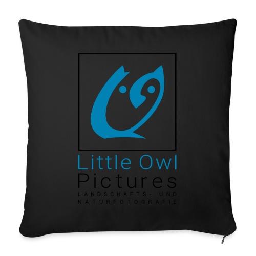Little Owl Pictures Logo (schwarz/blau) - Sofakissen mit Füllung 44 x 44 cm