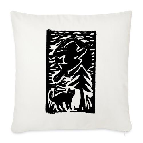 Hexe mit Katze - Sofakissen mit Füllung 44 x 44 cm