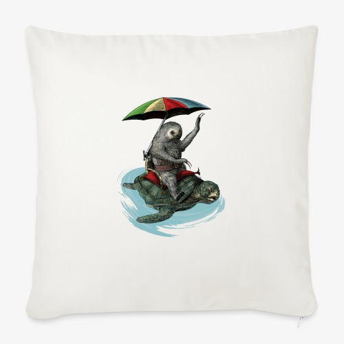 Two toed Sloth riding a turtle - Sofa pillow with filling 45cm x 45cm