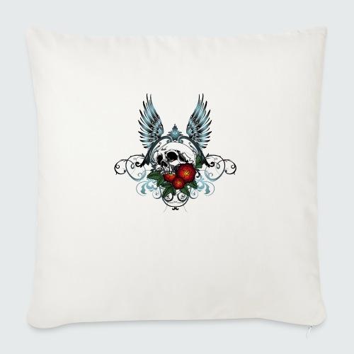 Skull Rose & Wing - Cuscino da divano 44 x 44 cm con riempimento