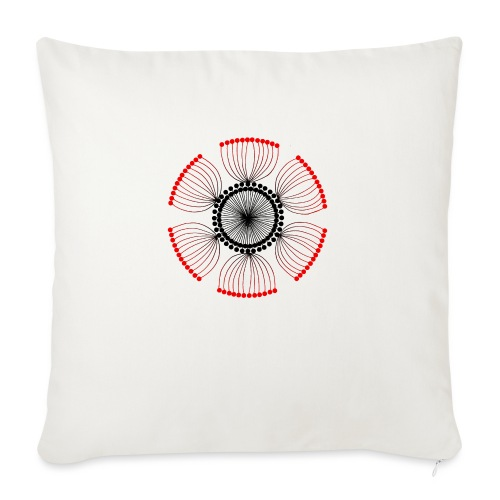 Red Poppy Seeds Mandala - Sofa pillow with filling 45cm x 45cm