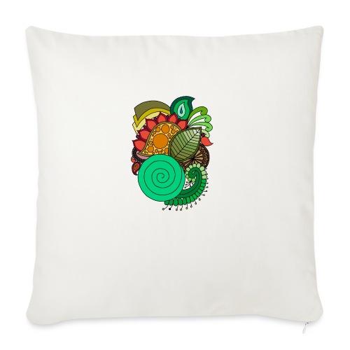 Coloured Leaf Mandala - Sofa pillow with filling 45cm x 45cm