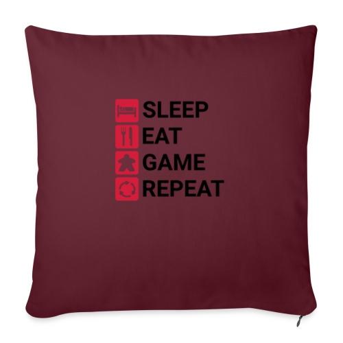 SLEEP, EAT, GAME, REPEAT - Sofapute med fylling 44 x 44 cm