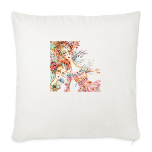 watercolor donnine 1200px - Sofa pillow with filling 45cm x 45cm