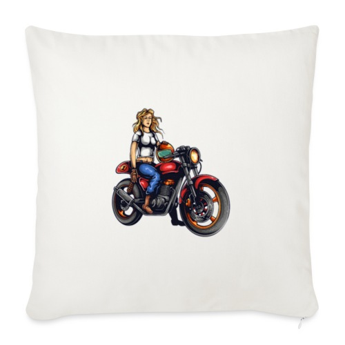Girl on Bike - Sofa pillow with filling 45cm x 45cm