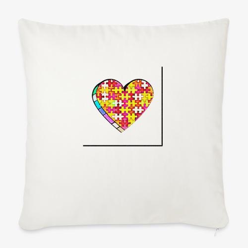Serce Puzzle - Poduszka na kanapę z wkładem 44 x 44 cm