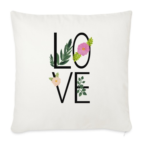 Love Sign with flowers - Sofa pillow with filling 45cm x 45cm