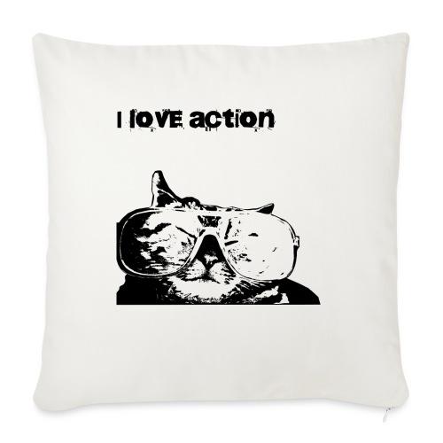 I love action - Funny Cat - Cuscino da divano 44 x 44 cm con riempimento