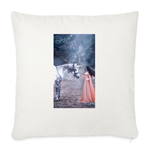Unicornio con mujer bella - Cojín de sofá con relleno 44 x 44 cm