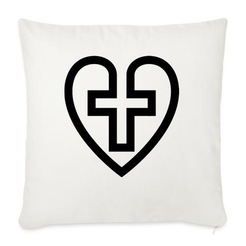 Symboliskt kristet kors i ett hjärta - Soffkudde med stoppning 44 x 44 cm