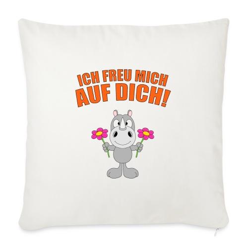 ICH FREU MICH AUF DICH! - NASHORN - BLUMEN - LIEBE - Sofakissen mit Füllung 44 x 44 cm