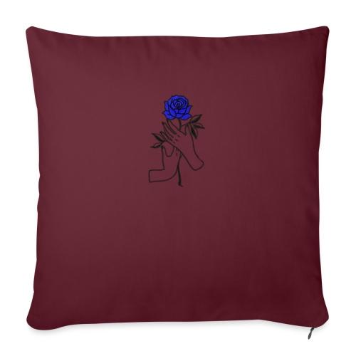 Fiore blu - Cuscino da divano 44 x 44 cm con riempimento