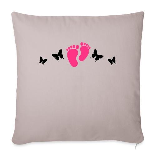 vlinders en baby voetjes - Bankkussen met vulling 44 x 44 cm