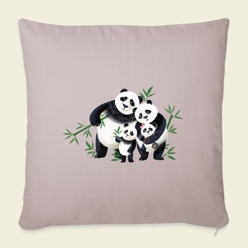 Pandafamilie zwei Kinder - Sofakissen mit Füllung 44 x 44 cm