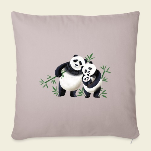 Pandafamilie Baby - Sofakissen mit Füllung 44 x 44 cm