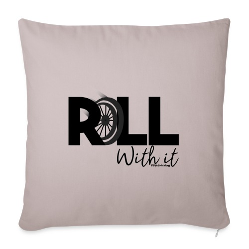 Amy's 'Roll with it' design (black text) - Sofa pillow with filling 45cm x 45cm