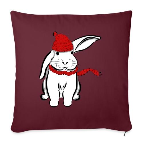 Kaninchen Hase Mütze Schal Schlappohr Schneehase - Sofakissen mit Füllung 44 x 44 cm