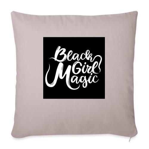 Black Girl Magic 1 White Text - Sofa pillow with filling 45cm x 45cm