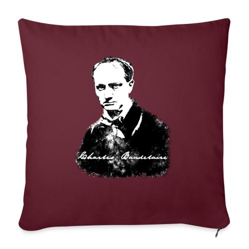 Baudelaire (fond blanc) + signature - Coussin et housse de 45 x 45 cm