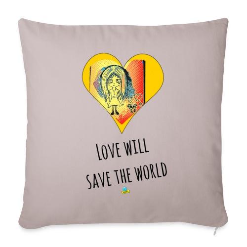 Love will save the world - Cuscino da divano 44 x 44 cm con riempimento