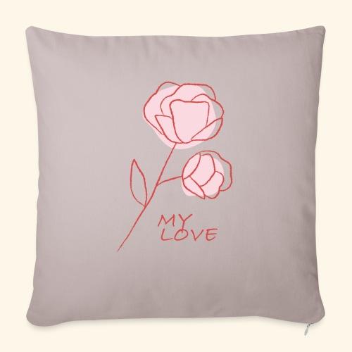 Rose My Love - Mon Amour - Saint valentin - Coussin et housse de 45 x 45 cm