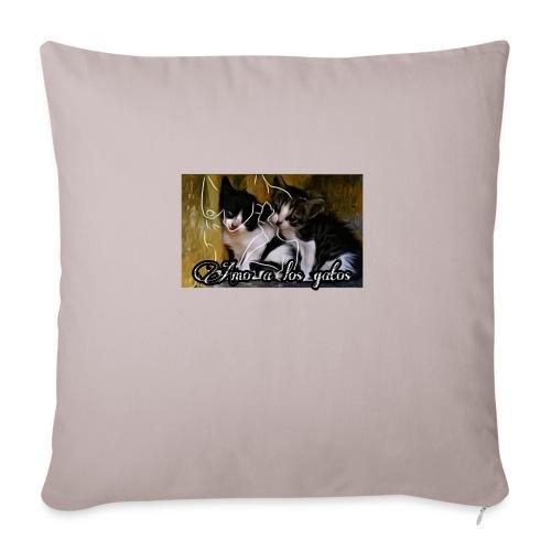 Amor por los gatos - Cojín de sofá con relleno 44 x 44 cm