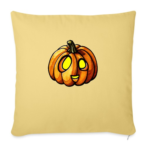 Pumpkin Halloween watercolor scribblesirii - Sofa pillow with filling 45cm x 45cm
