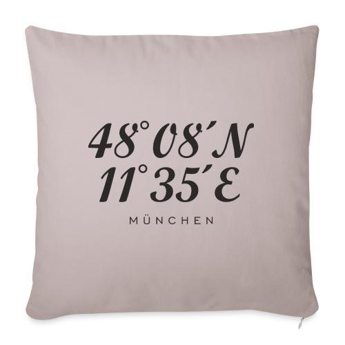 Münchener Koordinaten (Schwarz) München - Sofakissen mit Füllung 44 x 44 cm