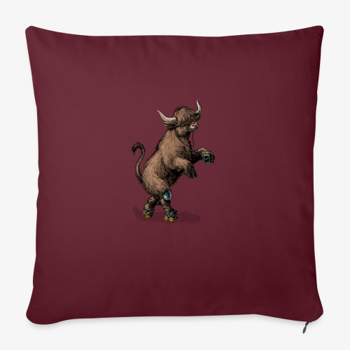 Highland Cow on roller skates - Sofa pillow with filling 45cm x 45cm
