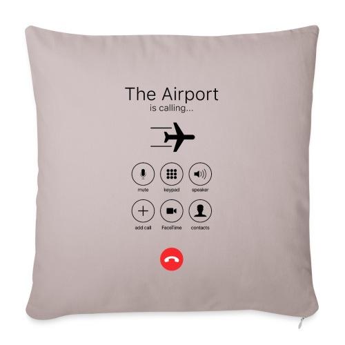 Lotnisko dzwoni - czarne - Poduszka na kanapę z wkładem 44 x 44 cm