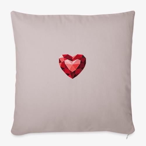 Rubinowe serce - Poduszka na kanapę z wkładem 44 x 44 cm