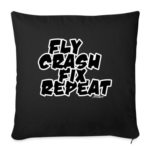 FlyCrashFixRepeat signed - Sofa pillow with filling 45cm x 45cm