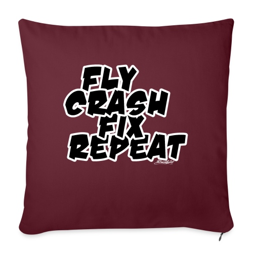 FlyCrashFixRepeat signed - Sofa pillow with filling 45cm x 45cm