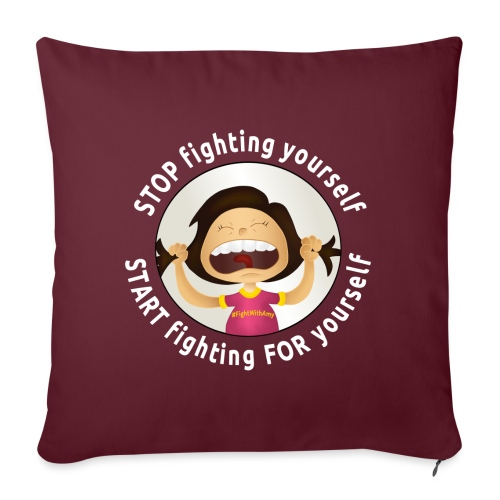 Amy's motto (white txt) - Sofa pillow with filling 45cm x 45cm