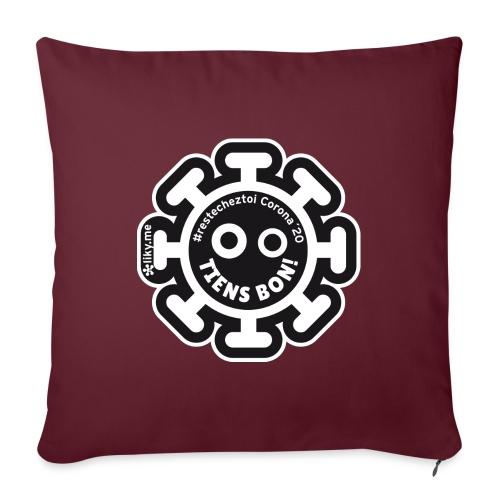 Corona Virus #restecheztoi noir - Cojín de sofá con relleno 44 x 44 cm