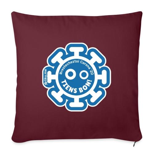 Corona Virus #restecheztoi gris bleu - Cojín de sofá con relleno 44 x 44 cm