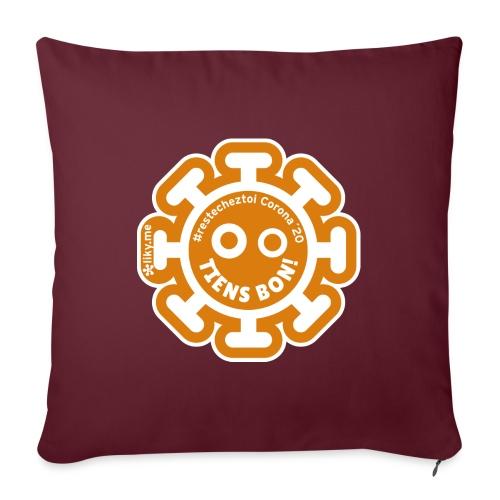 Corona Virus #restecheztoi arancione - Cuscino da divano 44 x 44 cm con riempimento