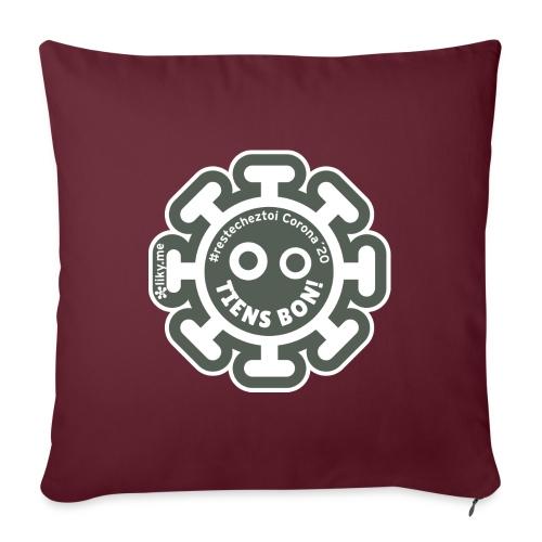 Corona Virus #restecheztoi gris - Cojín de sofá con relleno 44 x 44 cm